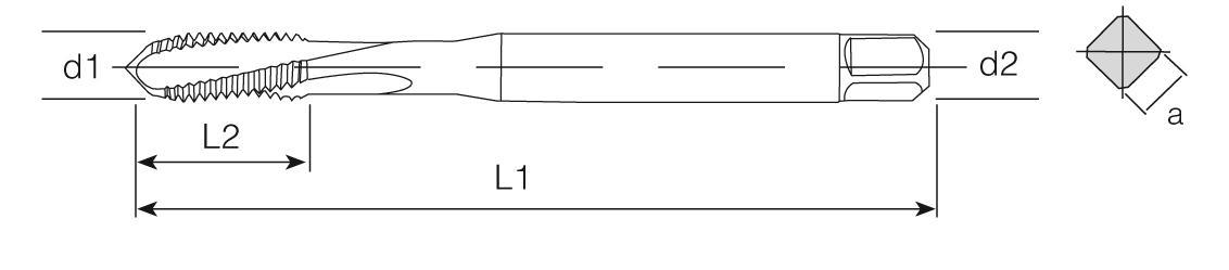 PM Din 371 Machine Taps 15° Helical Flute - Heat Resistant Ti-Ni