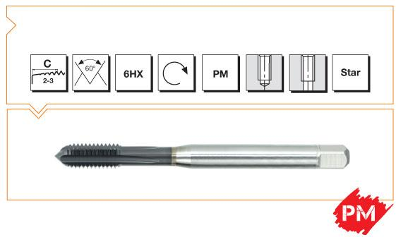 PM Din 371 Machine Taps Straight Flute - 50/55 HRC