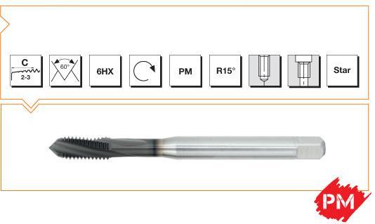PM Din 376 Machine Taps 15° Helical Flute - Cast Iron