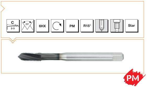 PM Din 376 Machine Taps 15° Helical Flute - High Speed