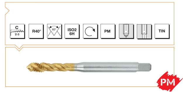 PM Din 376 Machine Taps 40° Helical Flute - Steel