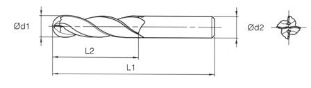VHM MTE Norm Ball Nose End Mills 4 Flutes - Long